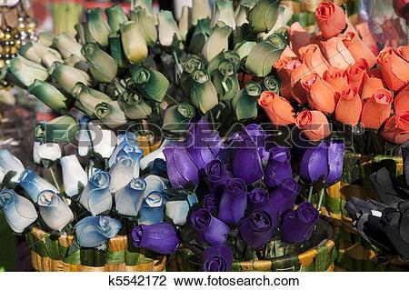 Stock Photo of Wooden Tulips on Sale on Market Stall k5542172.