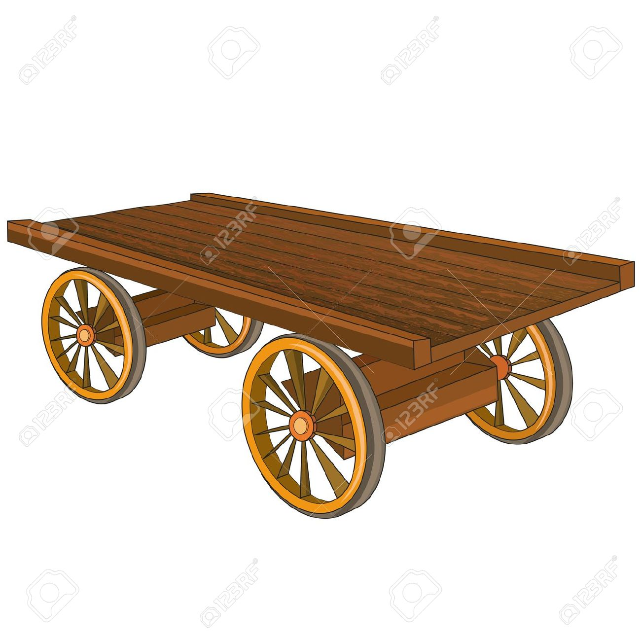 Vintage Wooden Cart Isolated On White Background, Vector.