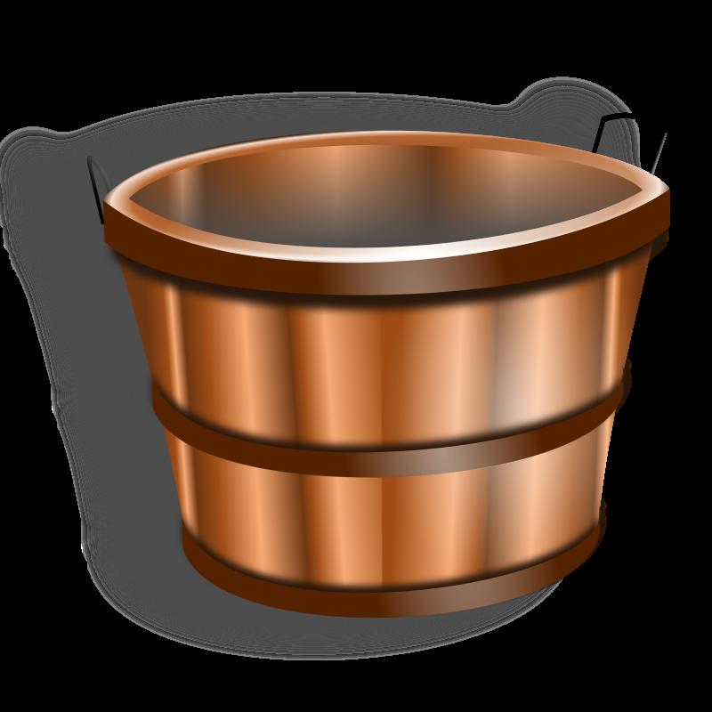 Wooden Water Bucket Clipart.