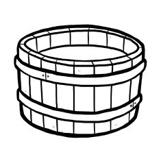 wooden bucket and water vector art illustration.