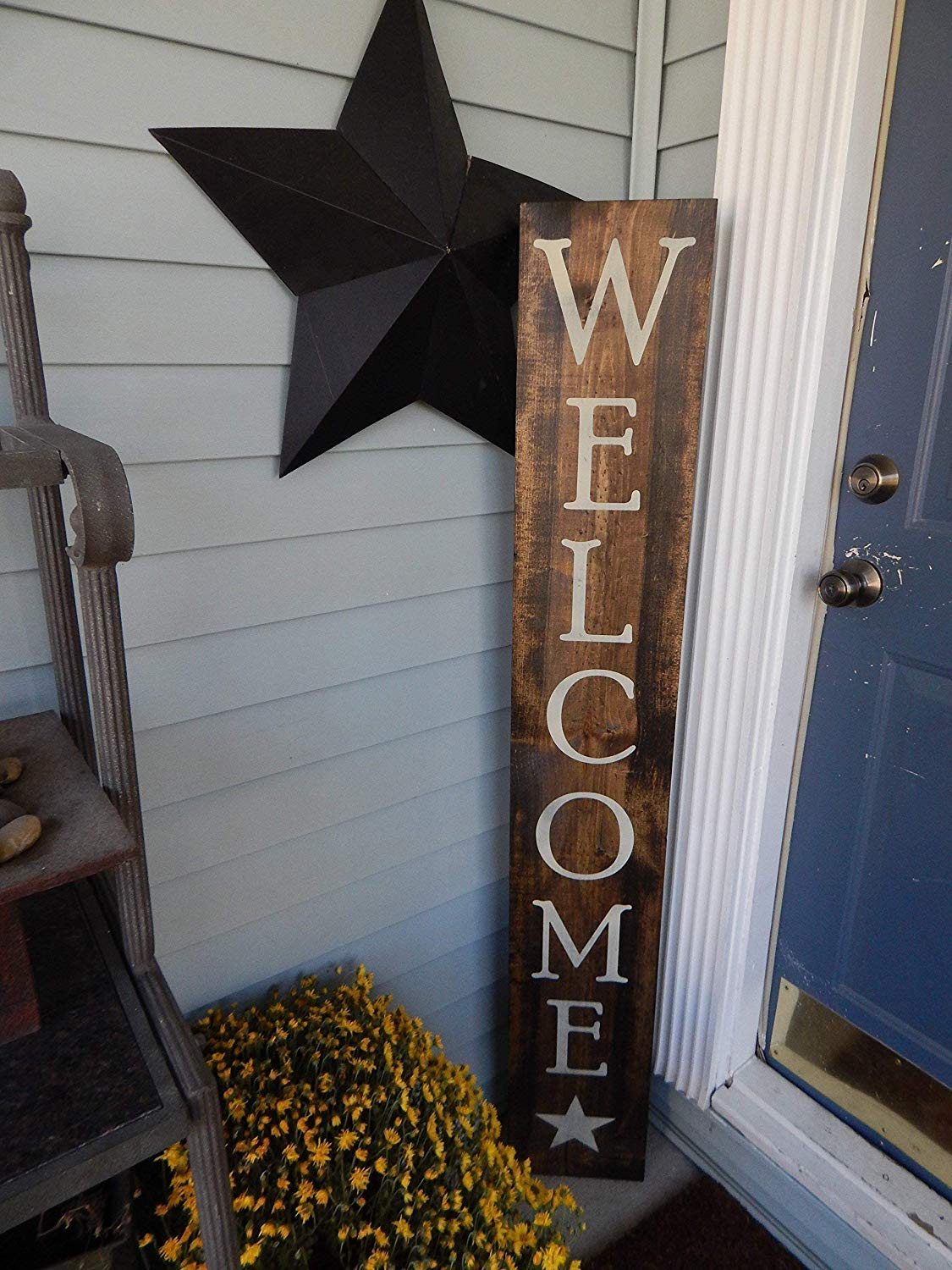 Large Welcome wood painted sign, Home porch sign, Wood welcome sign with  star clipart, primitive outdoor sign.