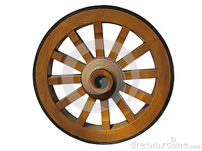 Antique Wooden Wagon Wheel On Rustic White Background Stock Photo.