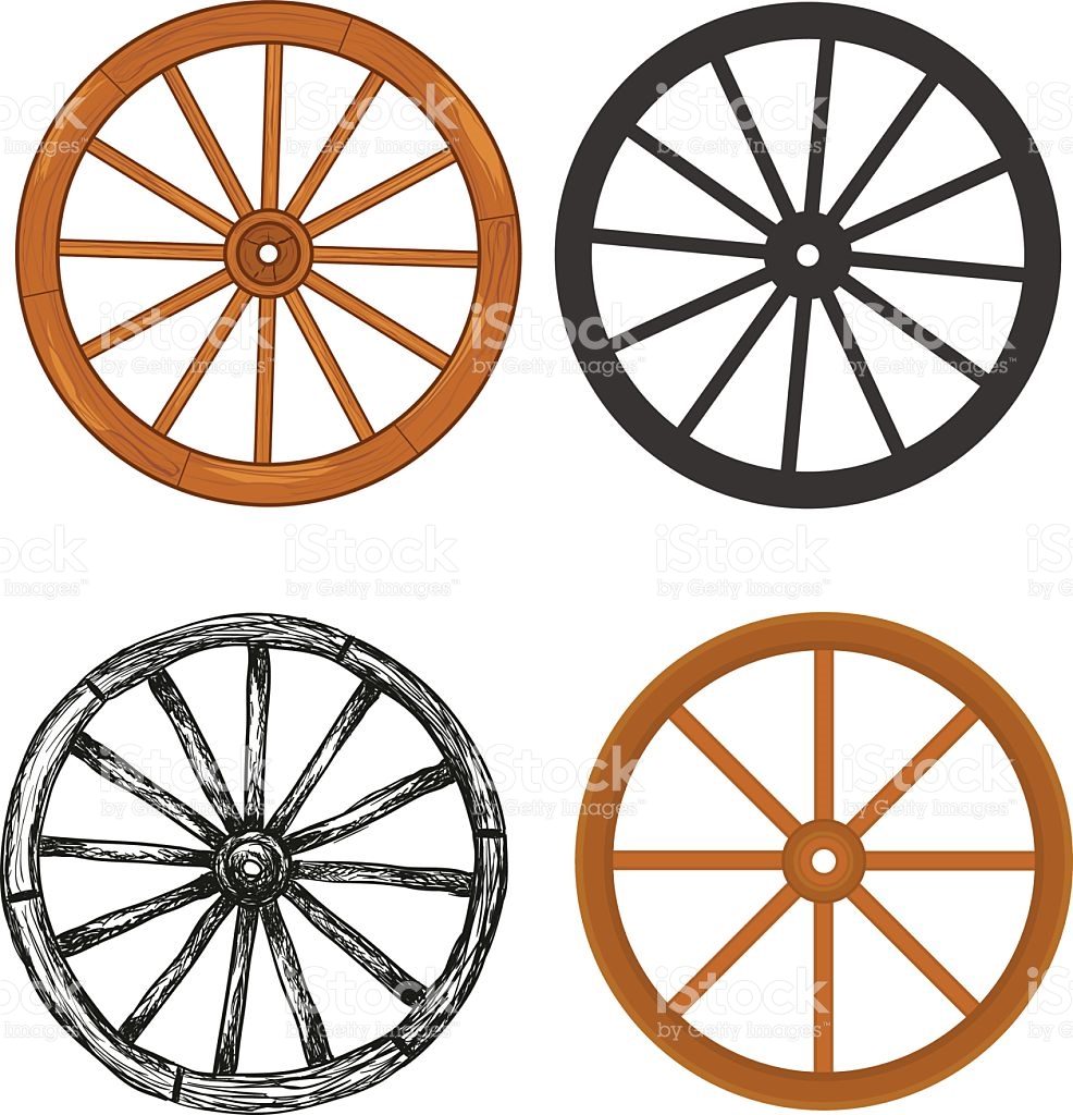 Wooden Wheel stock vector art 528606532.