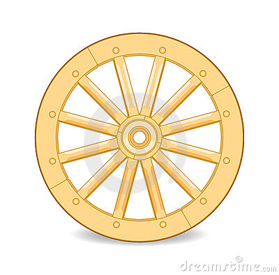 Yellow Wooden Wheel Stock Image.