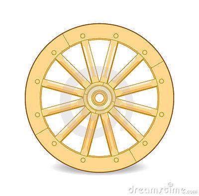 Yellow Wooden Wheel Stock Image.