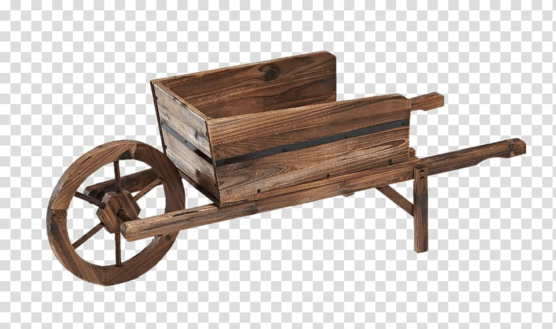 Brown wooden wheelbarrow, Wooden Wheelbarrow transparent.