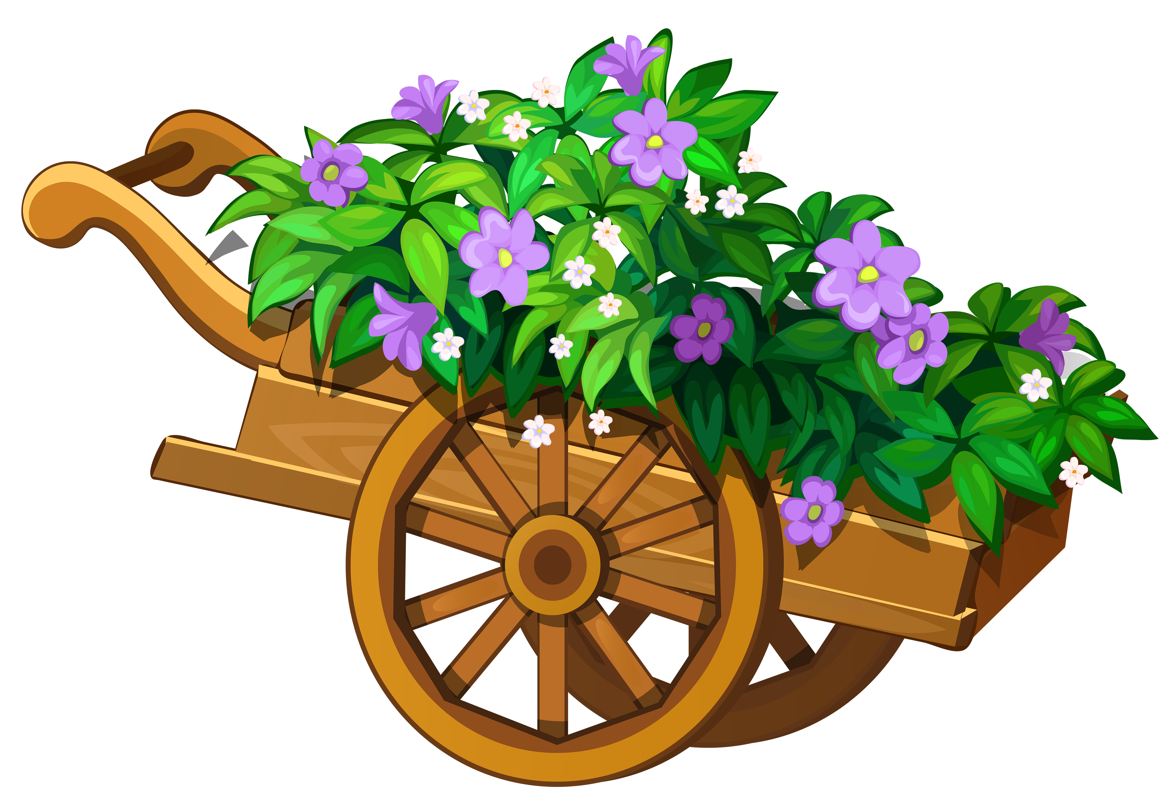 Wooden Garden Wheelbarrow With Flowers PNG Clipart The, Clip.