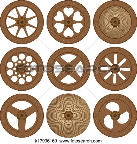 Clip Art of Wooden wheels k17996169.