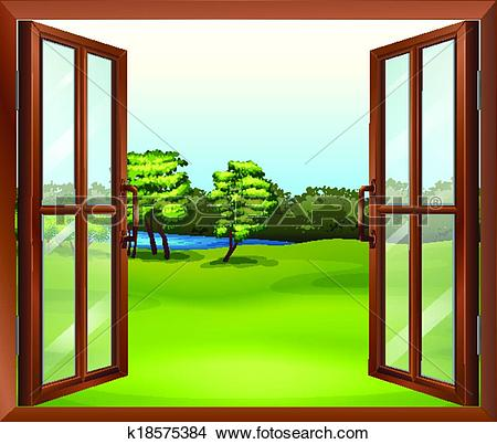Clipart of An open wooden window k18575384.
