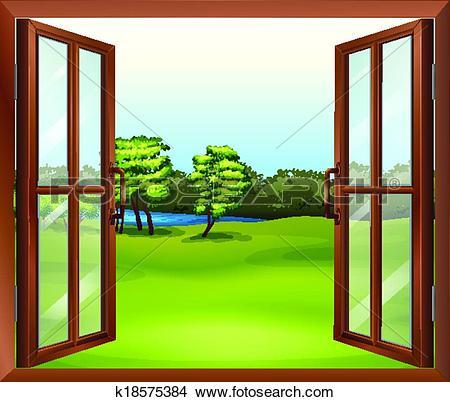 Clipart of An open wooden window k18575384.