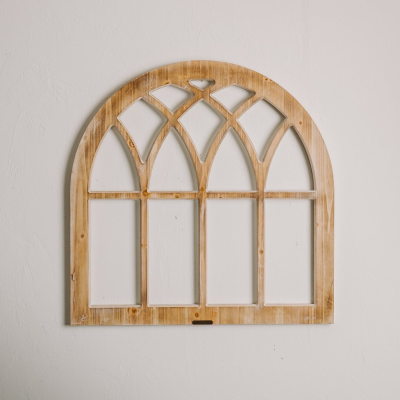 Arched Wooden Window Frame Magnolia PNG.