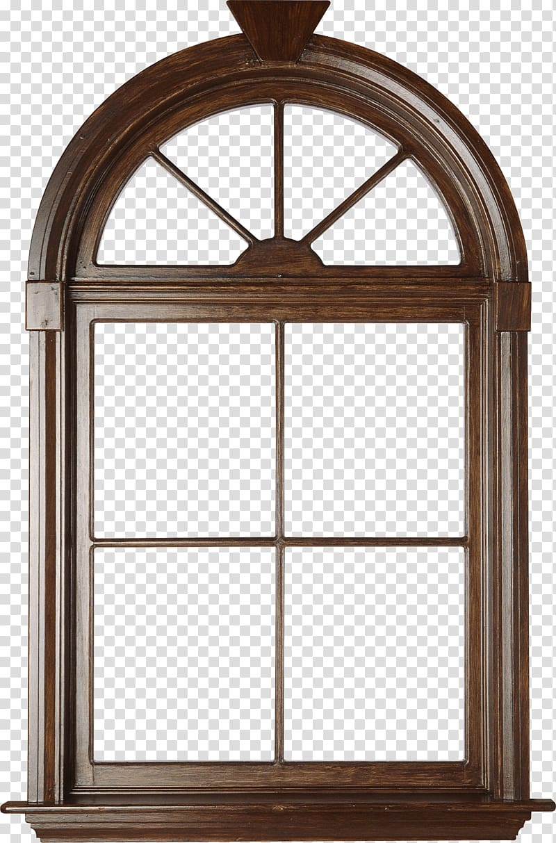 Arch shaped brown wooden windowpane, Window blind Window.