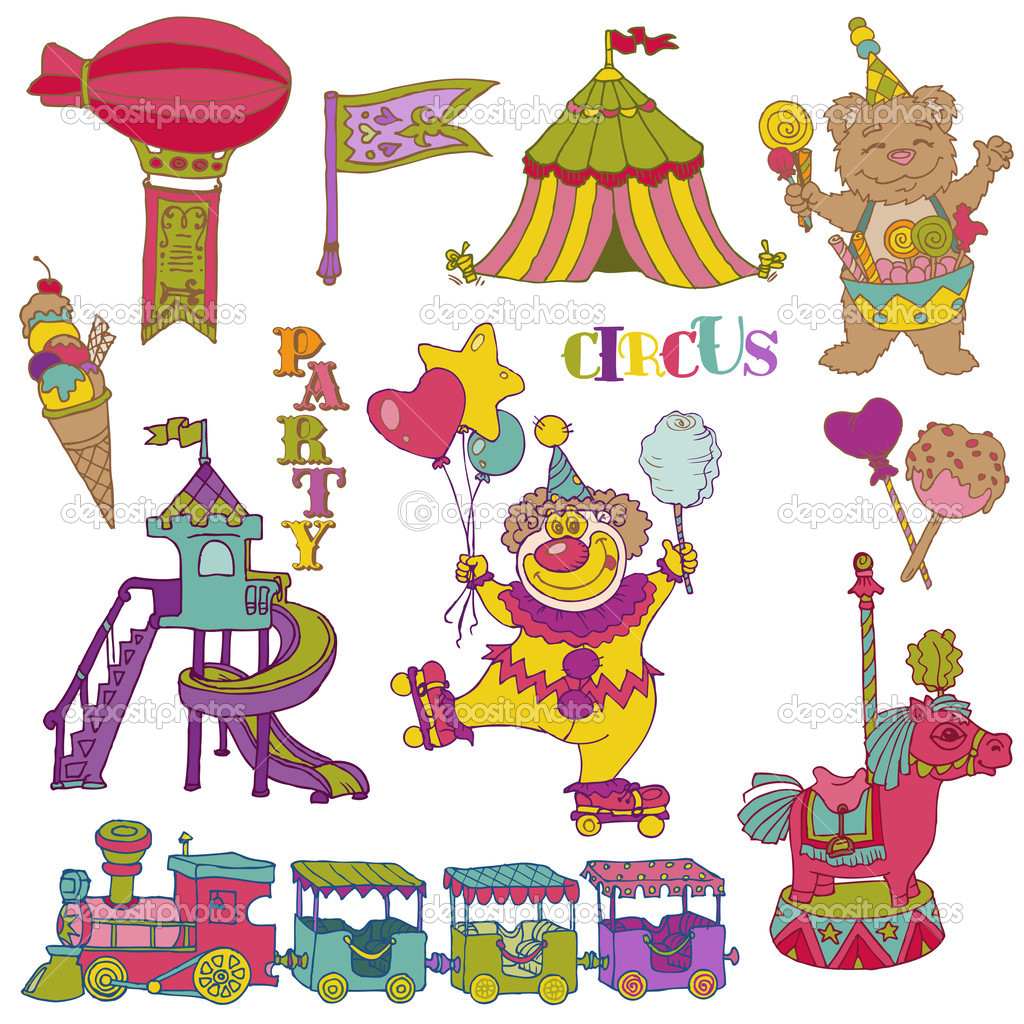 Vector set: Vintage Circus Elements.