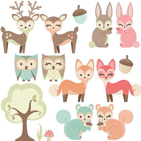 Woodland Nursery Clipart, Baby Animals Clip Art, Forest.