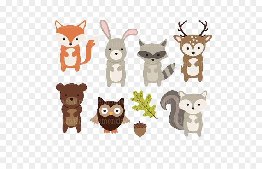 Paper Woodland Animal Clip art.