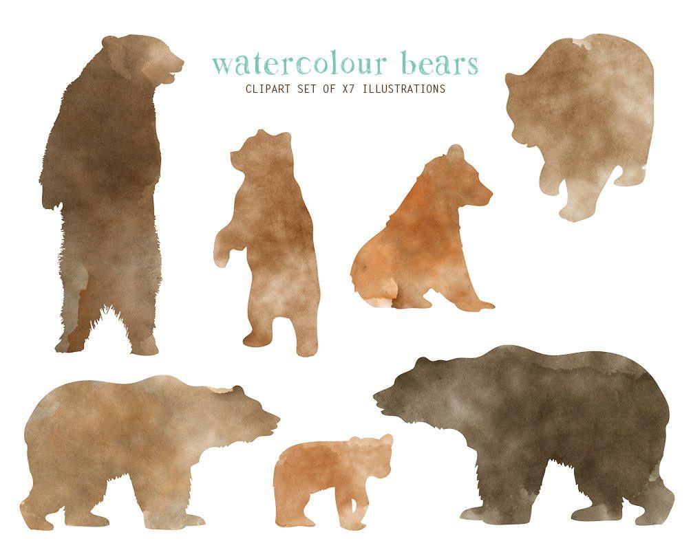 SALE Watercolor bear clipart, Woodland bear clipart, Baby.