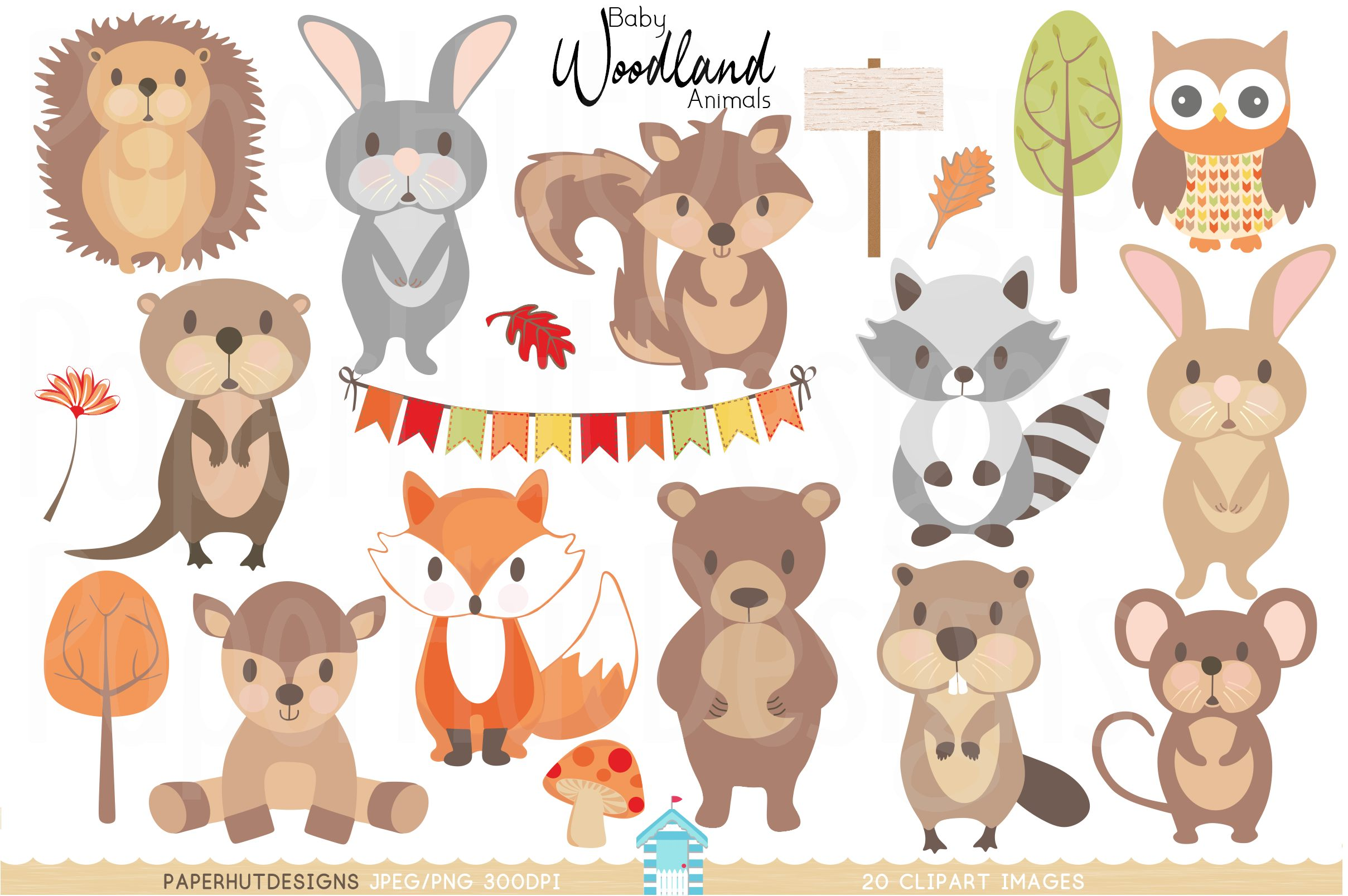 Baby Woodland Animals Clipart.