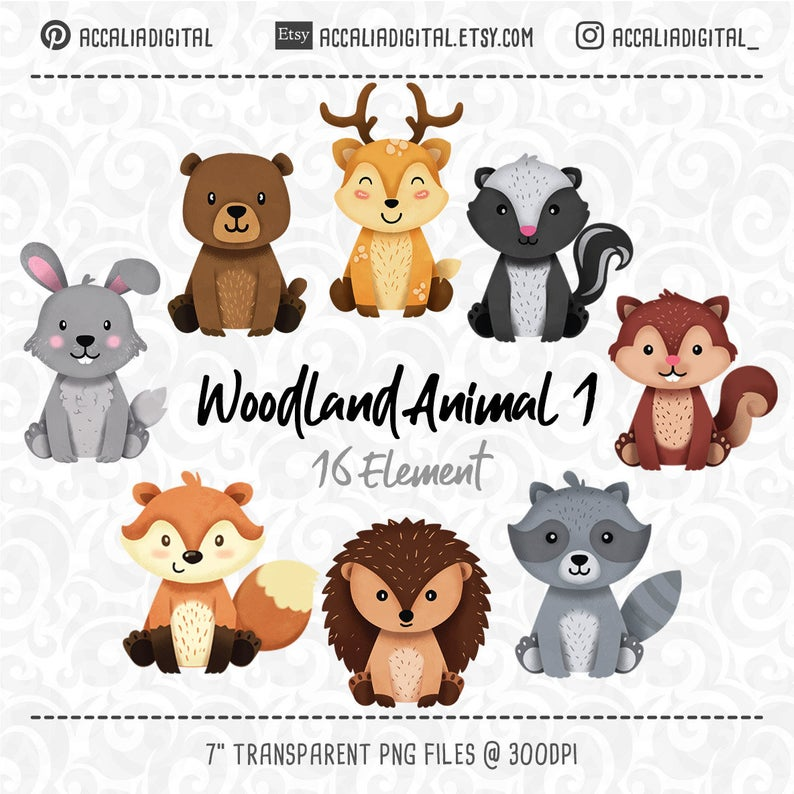 Woodland animals Clipart, Raccoon, Fox, Forest Friends sticker, animal  buddiess, friendly animal, digital clip art, woodland clipart.