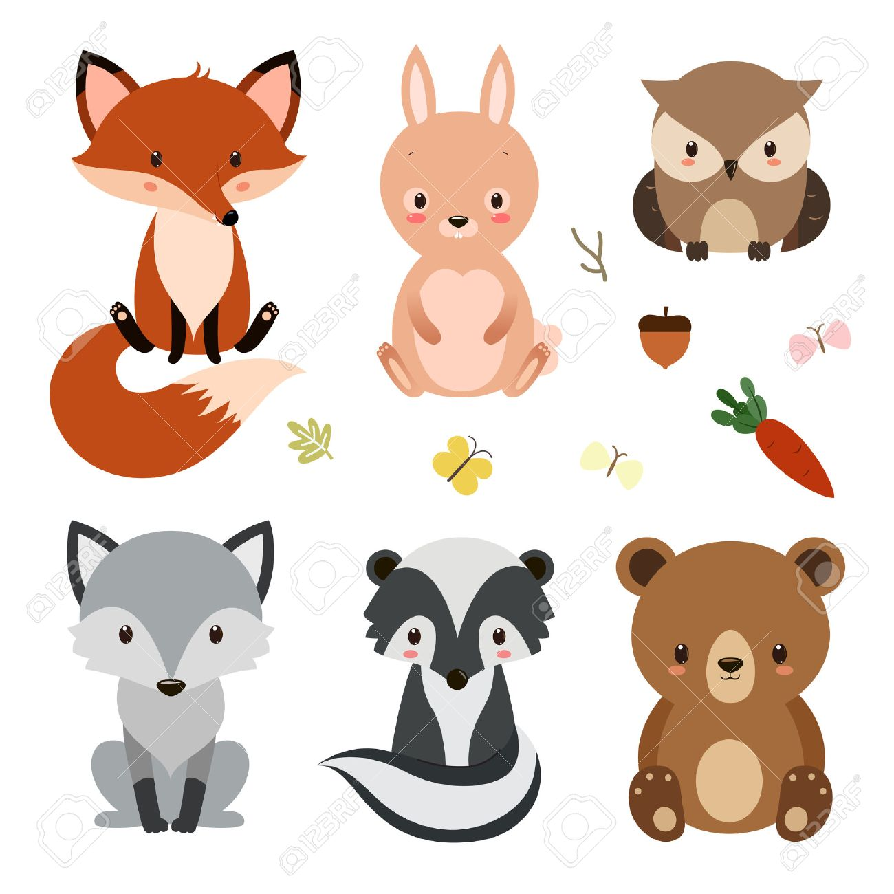 Set of cute woodland animals isolated on white background..
