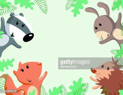 Woodland animal border Clipart Image.