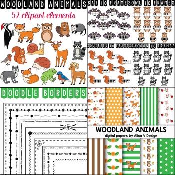 Woodland Animals Clipart Bundle.