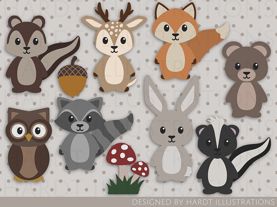 Woodland Animals Clipart, Woodland Animals, Cute Baby.