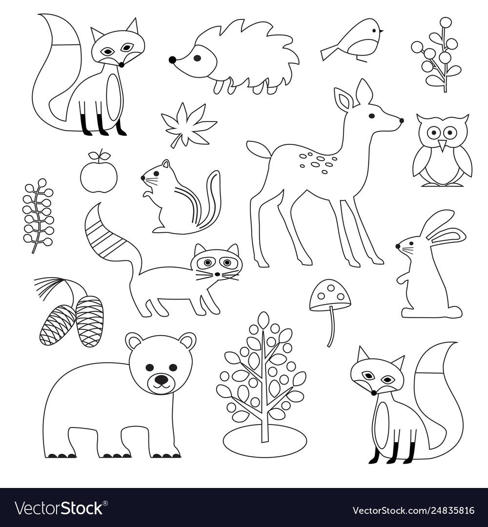 Woodland animal digital stamps.