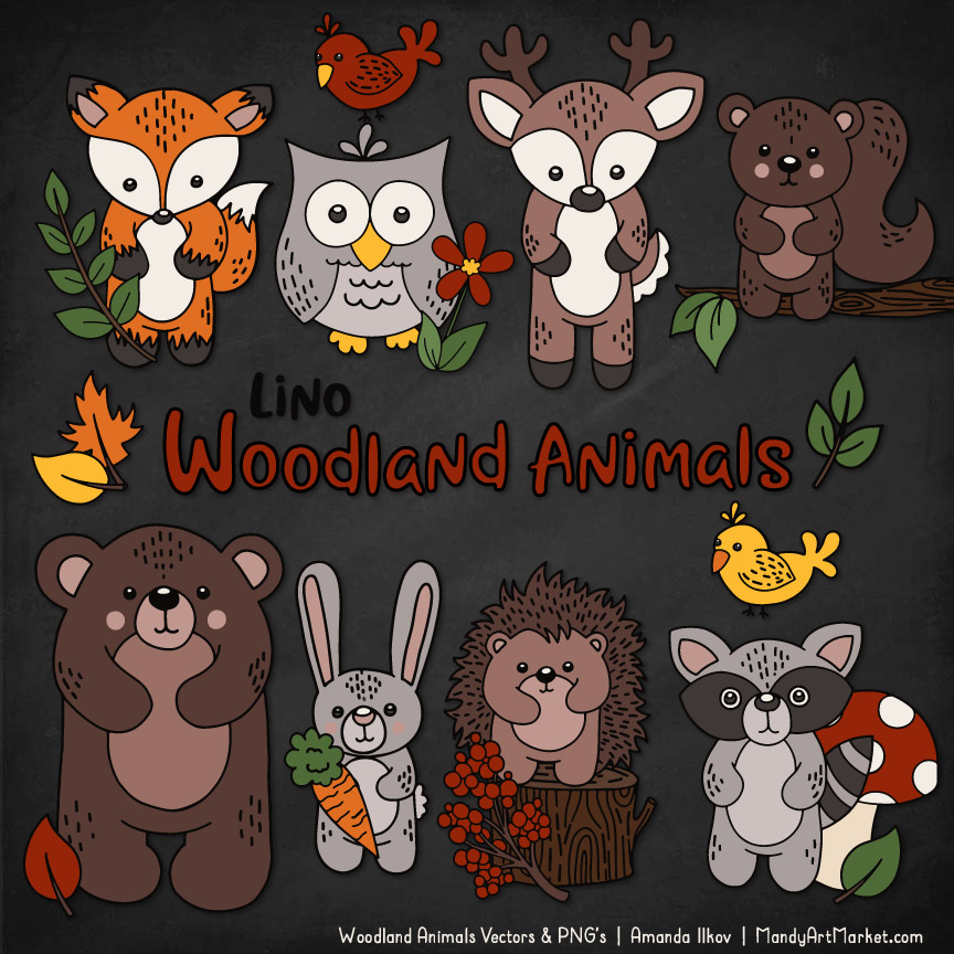 Natural Woodland Animal Clipart.