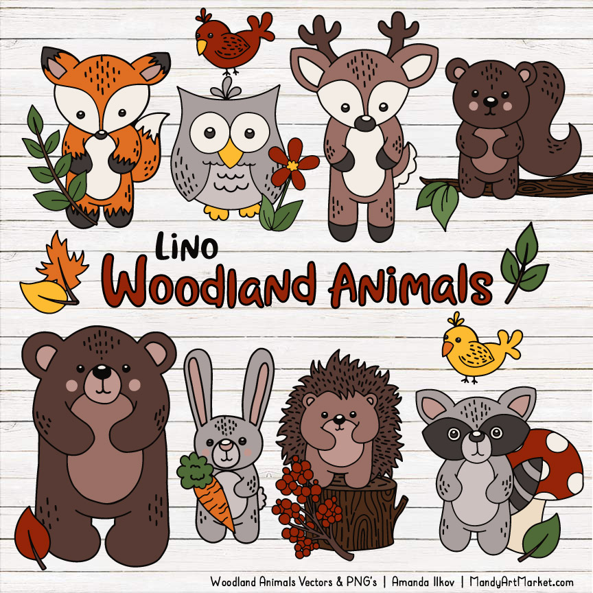 Natural Woodland Animal Clipart.