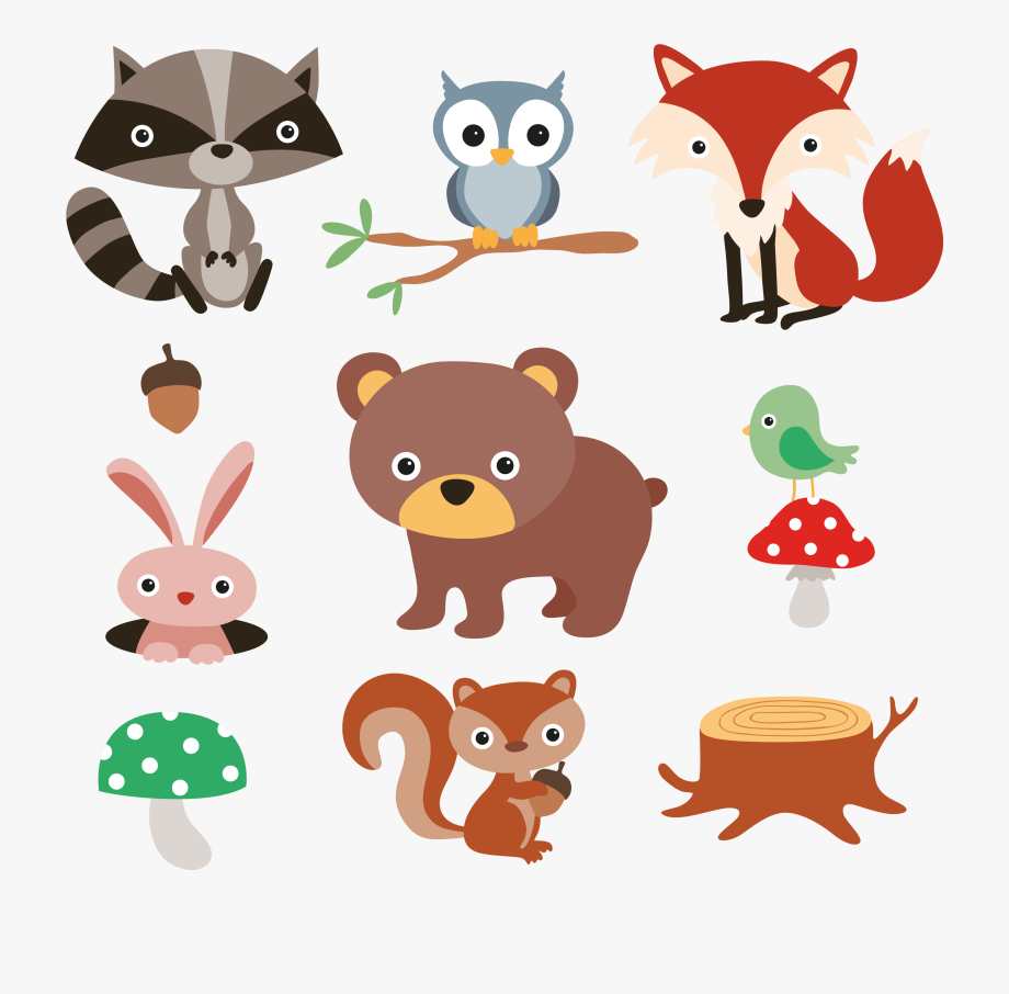 Squirrel Raccoon Cartoon Forest And Plants Material.