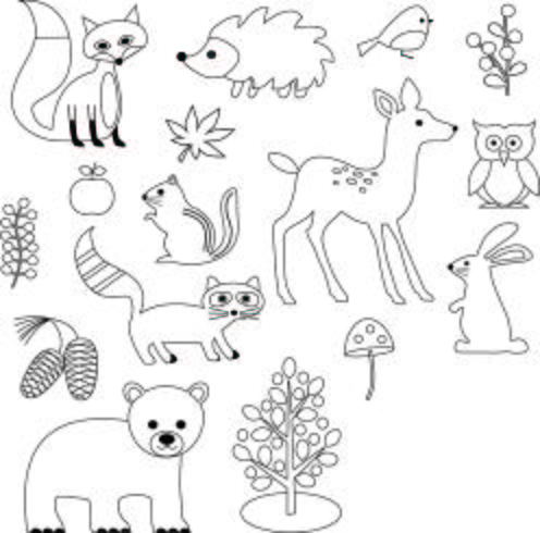 Woodland Animals Digital Stamps Clipart.