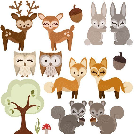 Woodland Forest Animal Clipart, Owl, Deer, Fox, Squirrel.