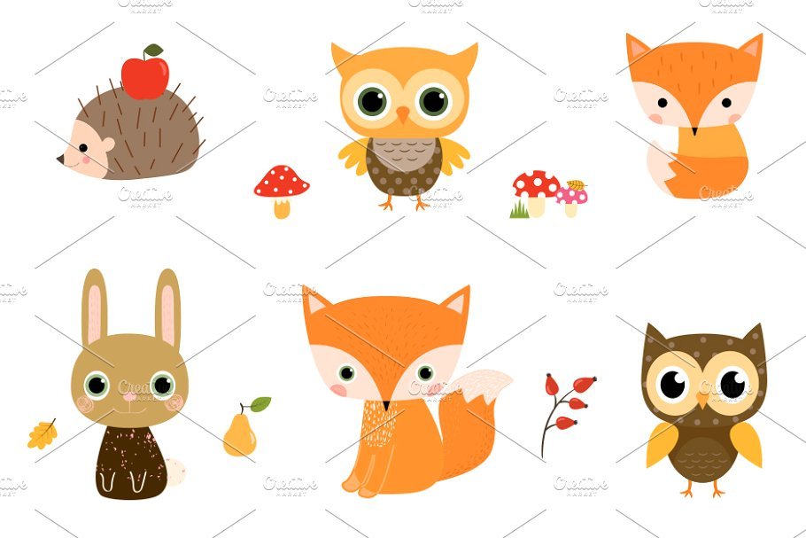 Cute Woodland Animal Clipart Set.