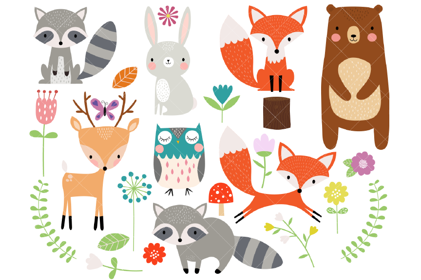 Woodland Animal Clipart.