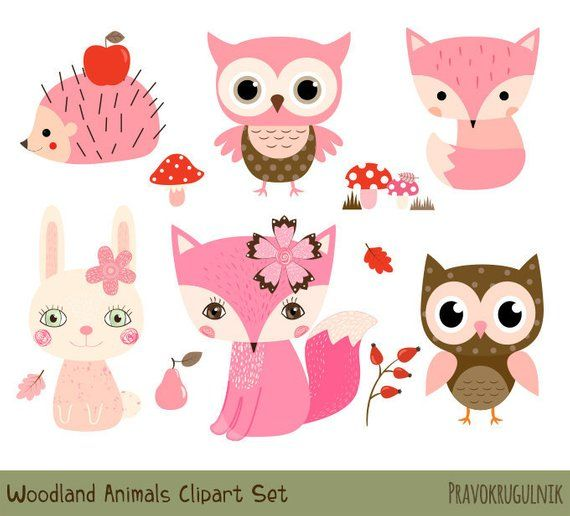 Pink Woodland Animal Clipart, Cute Forest Animal Clipart.