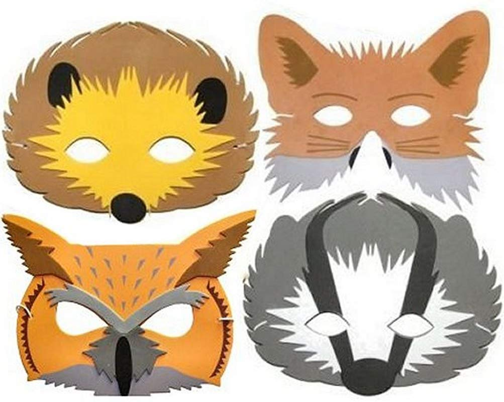 Blue Frog Toys 4 Foam Childrens Woodland Animal Masks.