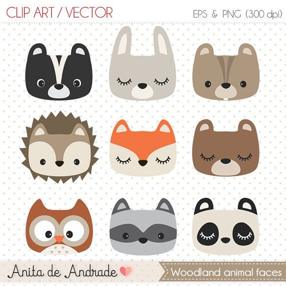 Woodland animal faces Digital Clipart by AnitadeAndradeStore.