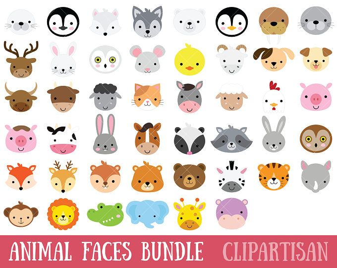 Woodland Animal Faces Clipart / Photo Booth Masks / Baby.