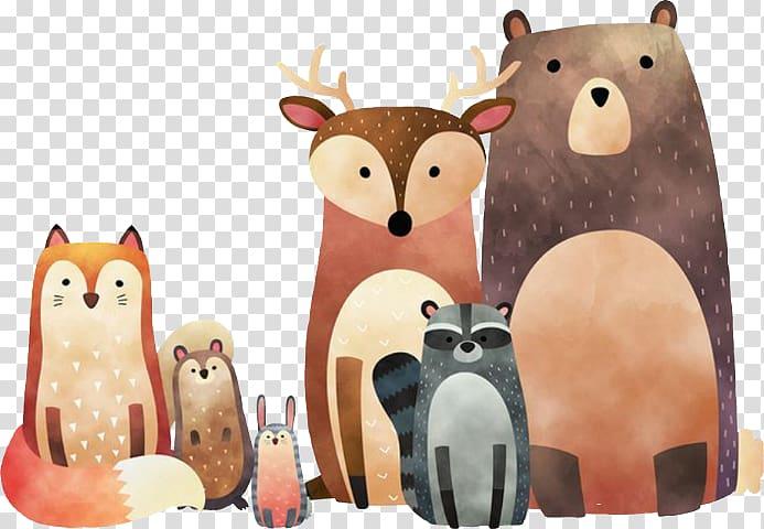 Group of animals illustration, Woodland Printing Wall.
