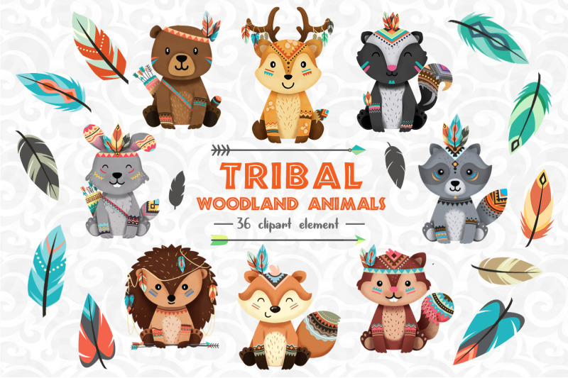 Tribal Woodland animals Clipart Set 1 By accaliadigital.