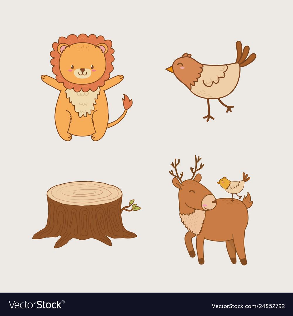 Group woodland animals.