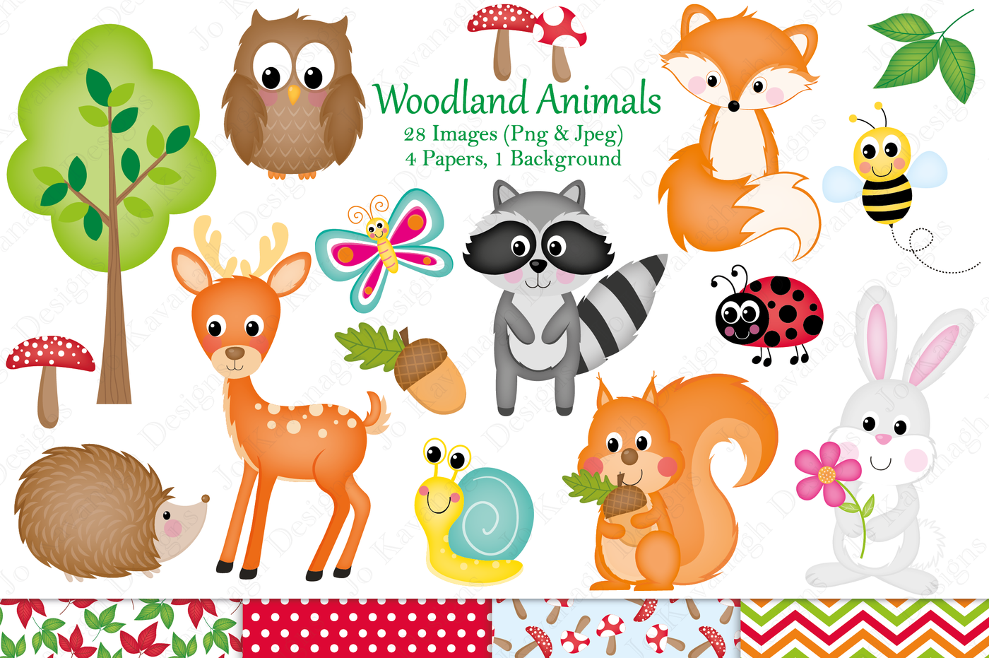 Woodland animals clipart,Woodland animal graphics.