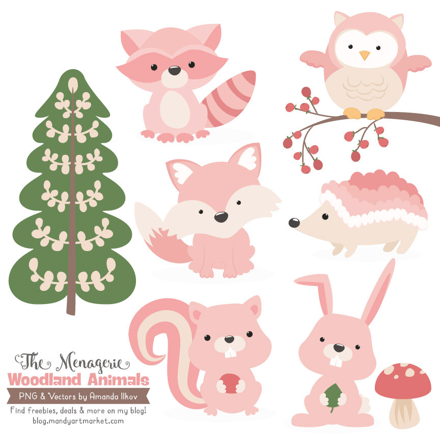 Woodland Animals Clipart in Soft Pink   Mandy Art Market.