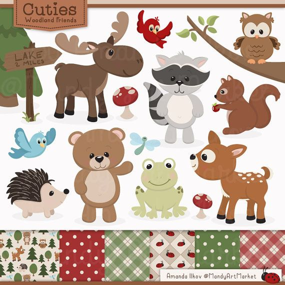 Cute Woodland Animals Clip Art & Papers.