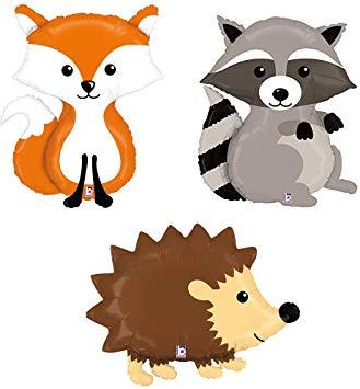 Woodland Raccoon Fox Hedgehog Mylar Balloon Bundle.