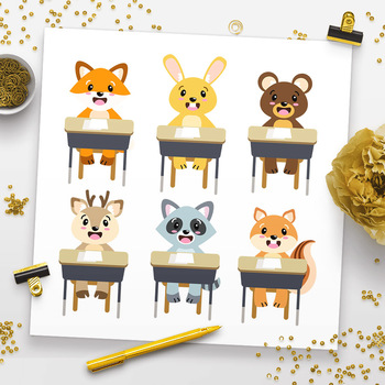 Cute School Animals Clipart, Woodland Animals Back to School Clipart.