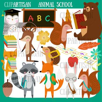 Woodland Animals Back to School Clip Art, Forest School.