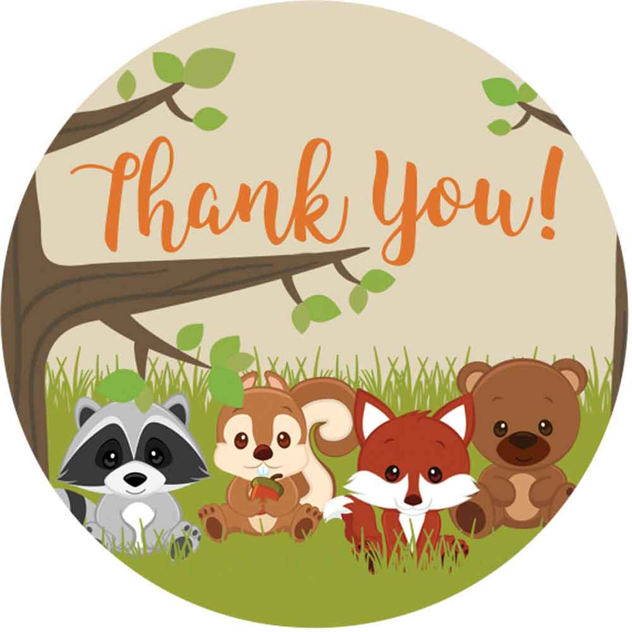 2 Inch Thank You stickers woodland animals 20 labels.