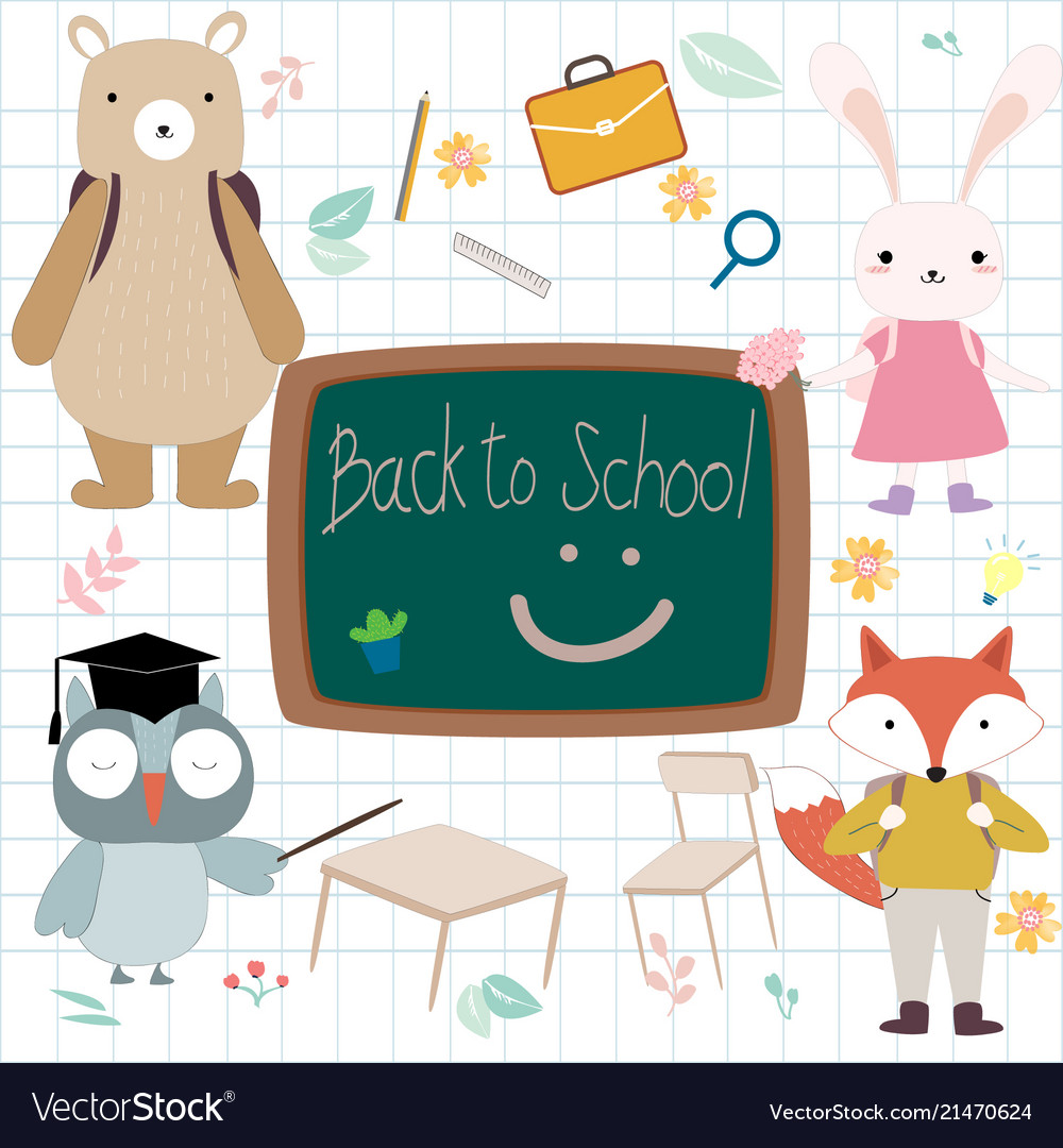 Cute animal student back to school.