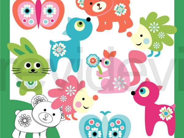 Woodland animals soft colors clipart.